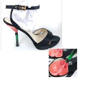Pelle Moda Rose Heel Flower Stem Ankle 10 Black